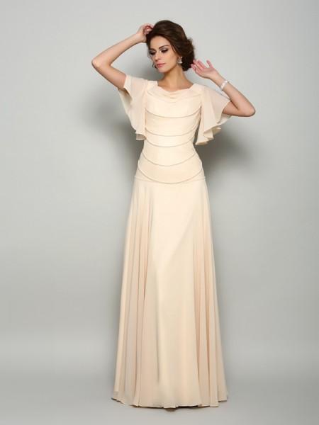 Trapèze/Princesse Col carré Perles Manches courtes Longue Mousseline Robes des mères des mariés