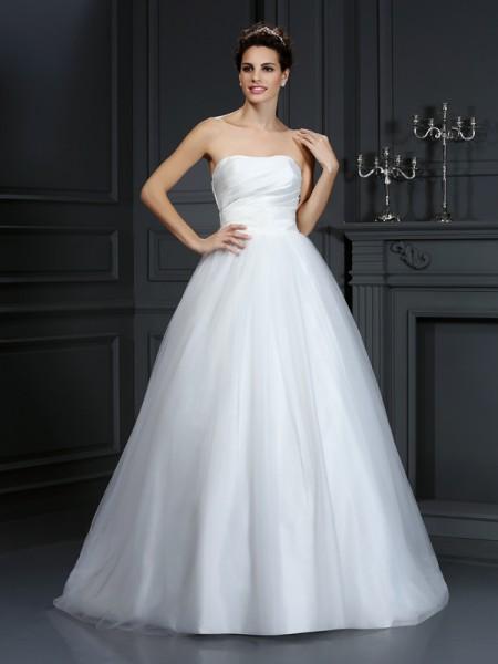 Robe de bal Sans bretelles Plis Sans Manches Longue Taffetas Robes de Mariée