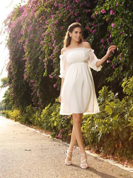 Trapèze/Princesse Épaules dégagées Perles Manches ½ Court Mousseline Robes de Mariée