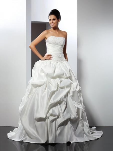 Robe de bal Sans bretelles Sans Manches Longue Satin Robes de Mariée