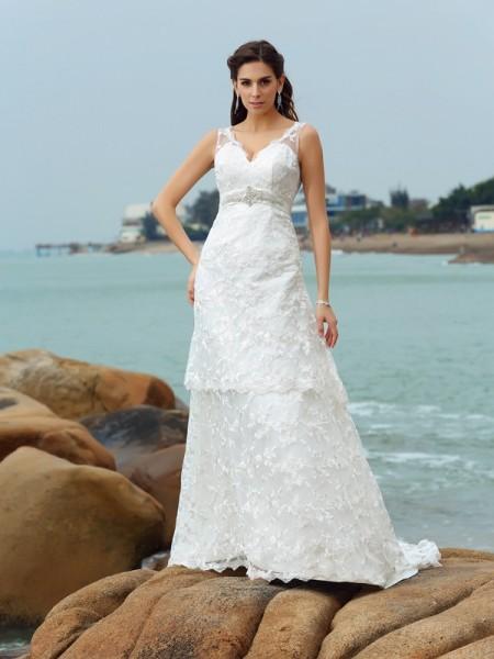 Trapèze/Princesse Avec bretelles Appliqués Sans Manches Longue Satin Plage Robes de Mariée