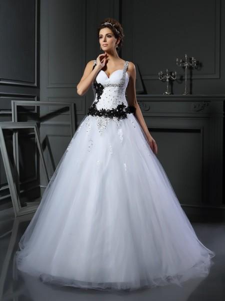 Robe de bal Avec bretelles Perles Sans Manches Longue Tulle Robes de Mariée