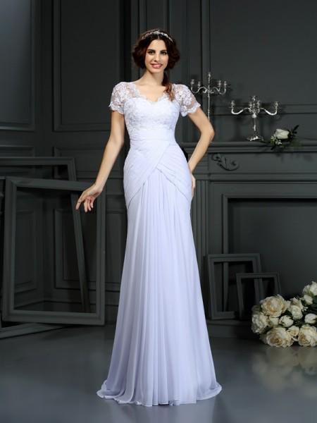 Fourreau Col en V Dentelle Manches courtes Longue Mousseline Robes de Mariée
