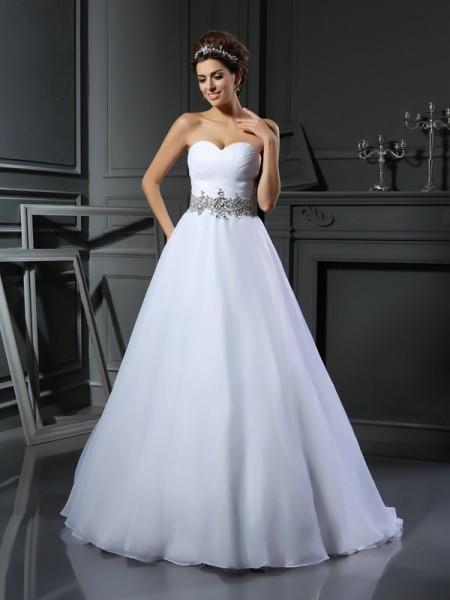 Robe de bal Col en coeur Perles Sans Manches Longue Satin Robes de Mariée
