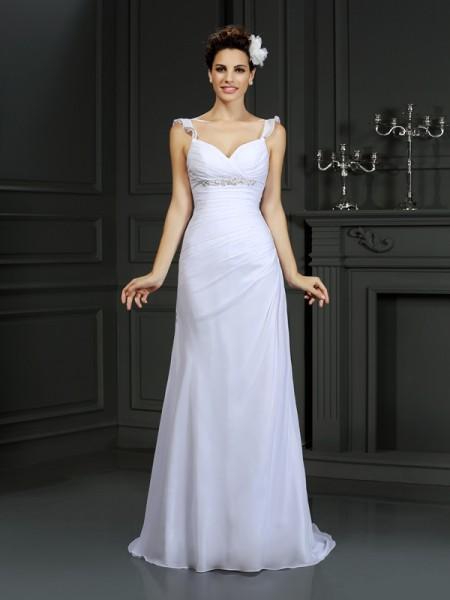 Sirène/Trompette Avec bretelles Perles Sans Manches Longue Mousseline Robes de Mariée