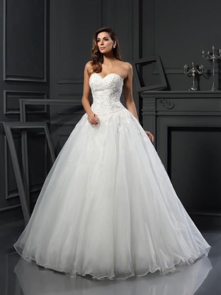 Robe de bal Col en coeur Perles Sans Manches Longue Tulle Robes de Mariée