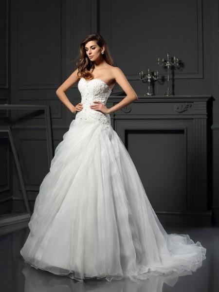 Robe de bal Col en coeur Volants Sans Manches Longue Organza Robes de Mariée