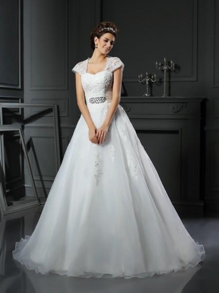 Robe de bal Col carré Perles Sans Manches Longue Organza Robes de Mariée
