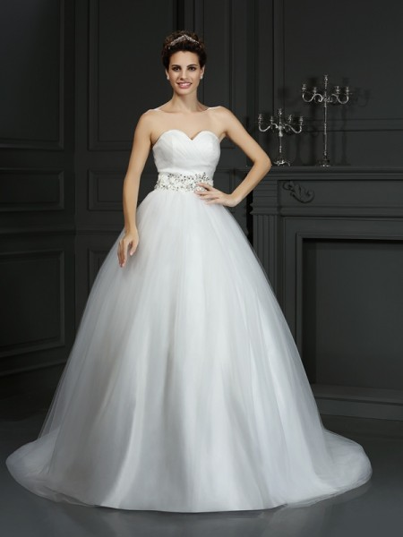 Robe de bal Col en coeur Perles Sans Manches Longue Voile Robes de Mariée
