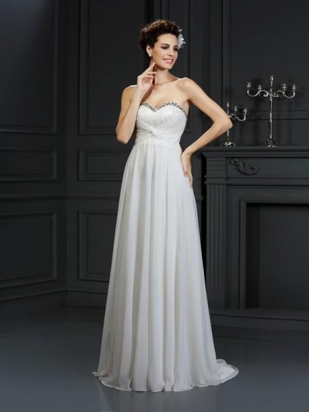 Trapèze/Princesse Col en coeur Volants Sans Manches Longue Mousseline Robes de Mariée