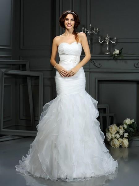Sirène/Trompette Col en coeur Perles Sans Manches Longue Organza Robes de Mariée