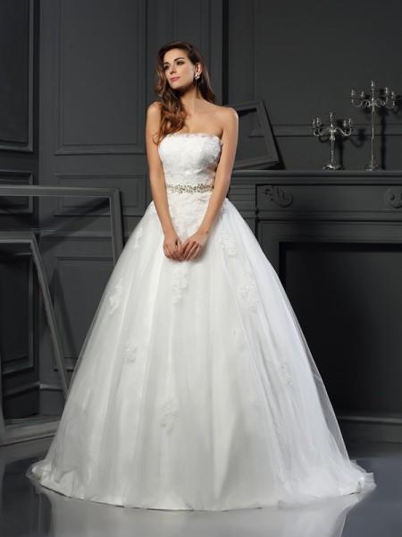 Robe de bal Sans bretelles Appliqués Sans Manches Longue Voile Robes de Mariée