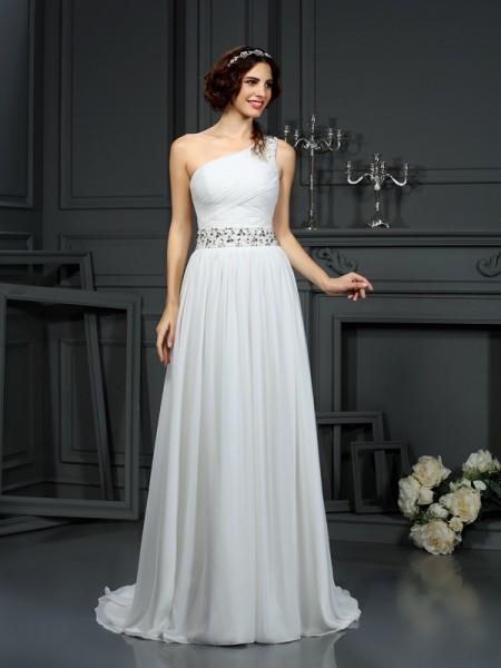Trapèze/Princesse Col asymétrique Perles Sans Manches Longue Mousseline Robes de Mariée