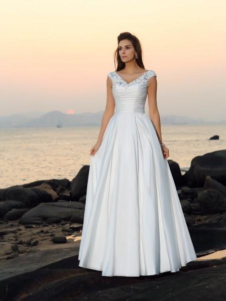Trapèze/Princesse Col en V Perles Sans Manches Longue Taffetas Plage Robes de Mariée