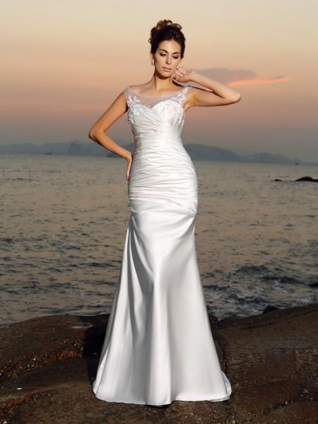 Sirène/Trompette Col plongeant Perles Sans Manches Longue Satin Plage Robes de Mariée