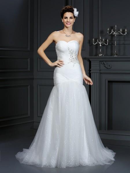 Fourreau Col en coeur Perles Sans Manches Longue Voile Robes de Mariée