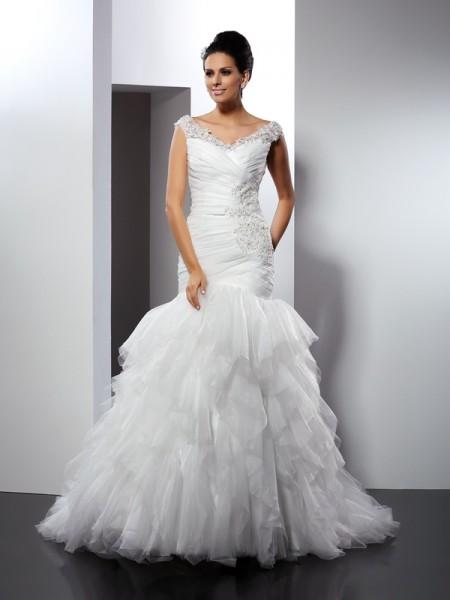 Sirène/Trompette Col en V Appliqués Sans Manches Longue Tulle Robes de Mariée