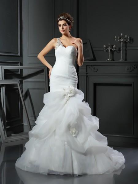 Sirène/Trompette Col en coeur Volants Sans Manches Longue Satin Robes de Mariée