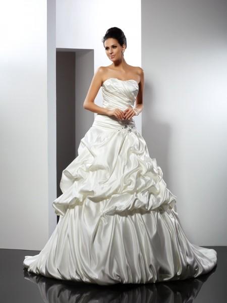 Robe de bal Col en coeur Sans Manches Longue Satin Robes de Mariée