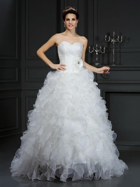 Robe de bal Col en coeur Fleurs faites à la main Sans Manches Longue Organza Robes de Mariée
