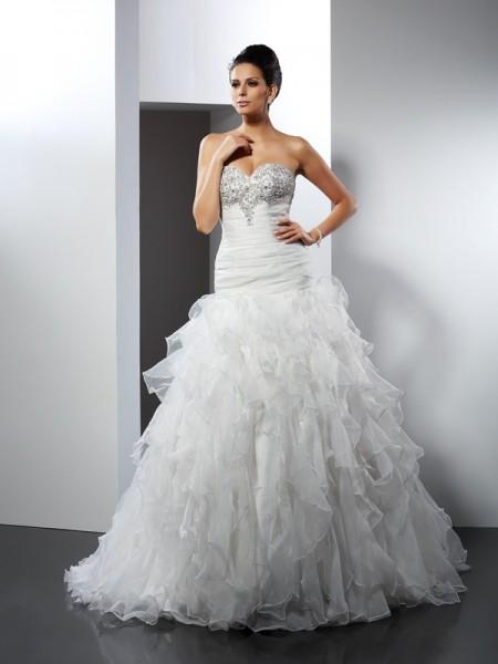 Robe de bal Col en coeur Volants Sans Manches Longue Tulle Robes de Mariée