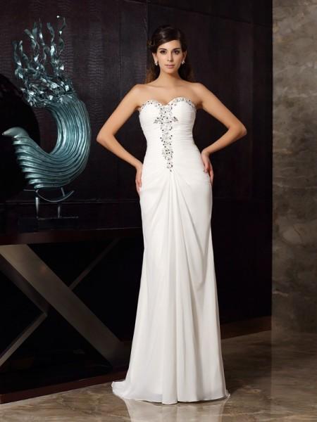 Sirène/Trompette Col en coeur Perles Sans Manches Longue Mousseline Robes