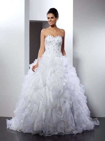 Robe de bal Col en coeur Volants Sans Manches Longue Satin Robes de Mariée