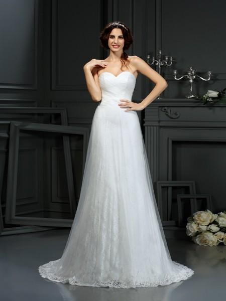 Trapèze/Princesse Col en coeur Plis Sans Manches Longue Voile Robes de Mariée