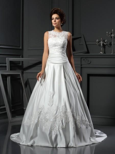 Trapèze/Princesse Col montant Appliqués Sans Manches Longue Satin Robes de Mariée