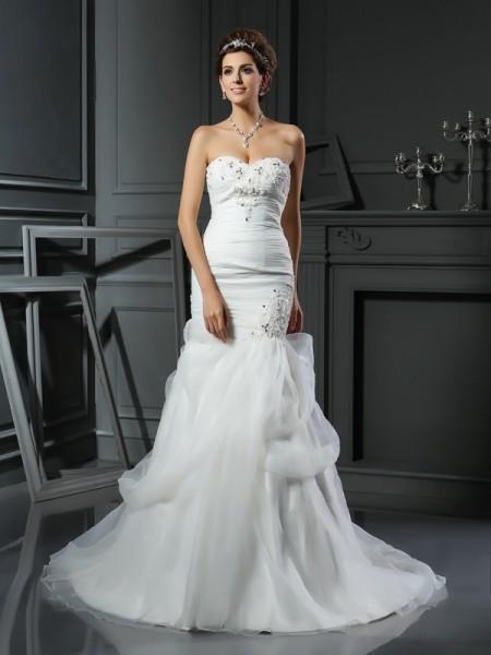 Sirène/Trompette Col en coeur Perles Sans Manches Longue Voile Robes de Mariée