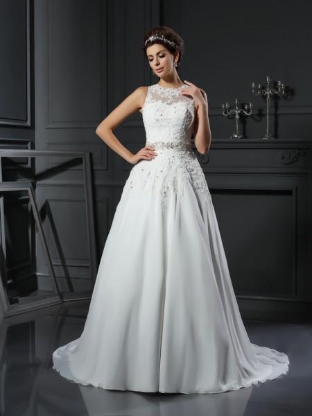 Trapèze/Princesse Col montant Perles Sans Manches Longue Satin Robes de Mariée