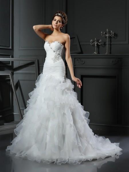 Sirène/Trompette Col en coeur Volants Sans Manches Longue Organza Robes de Mariée