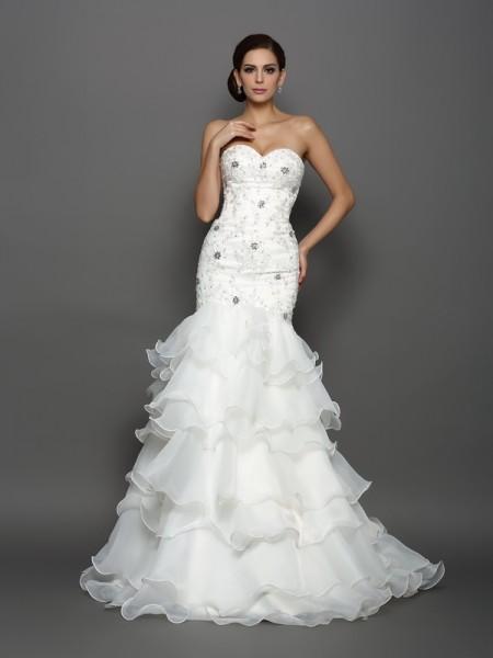 Sirène/Trompette Col en coeur Perles Appliqués Sans Manches Longue Organza Robes de Mariée