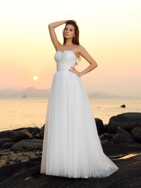 Trapèze/Princesse Col en coeur Sans Manches Longue Voile Plage Robes de Mariée