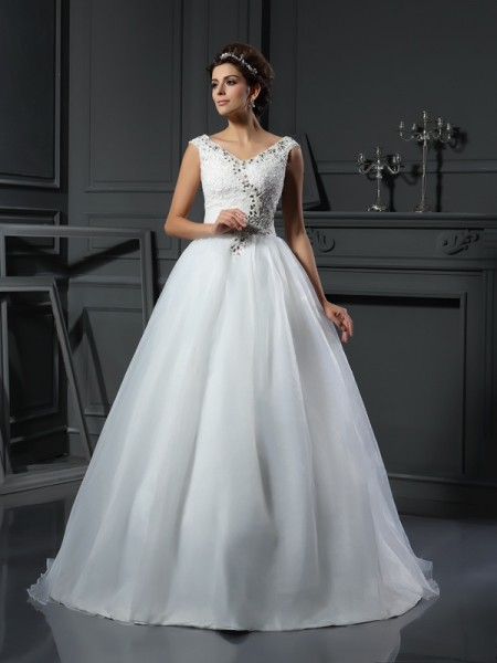 Trapèze/Princesse Col en V Perles Sans Manches Longue Organza Robes de Mariée