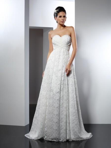 Trapèze/Princesse Col en coeur Sans Manches Longue Satin Robes de Mariée