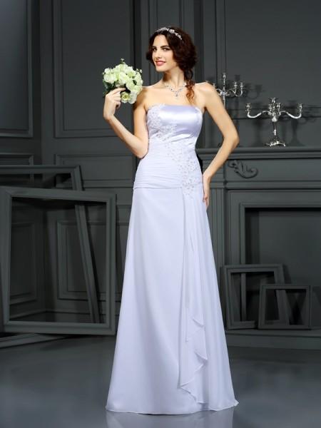 Fourreau Sans bretelles Perles Sans Manches Longue Mousseline Robes de Mariée