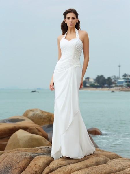 Fourreau Licou Plis Sans Manches Longue Mousseline Plage Robes de Mariée