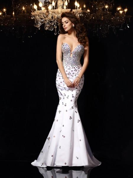 Sirène/Trompette Col en coeur Faux diamants Sans Manches Longue Satin Robes