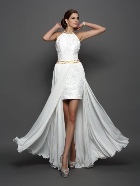 Trapèze/Princesse Col montant Dentelle Sans Manches Longue Mousseline Robes de Mariée