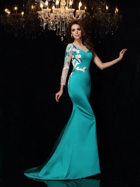 Sirène/Trompette Col plongeant Perles Sans Manches Longue Satin Robes