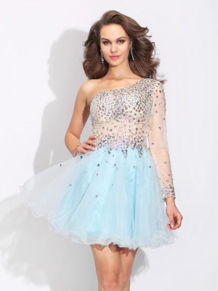 Trapèze/Princesse Col asymétrique Perles Manches Longueues Court Satin stretch Dresses