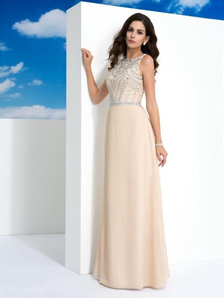 Trapèze/Princesse Col plongeant Perles Sans Manches Longue Mousseline Robes