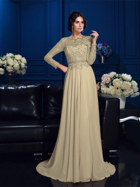 Trapèze/Princesse Col plongeant Perles Manches Longueues Longue Mousseline Robes des mères des mariés