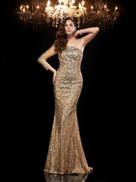 Sirène/Trompette Col asymétrique Perles Manches ¾ Longue Sequinss Robes