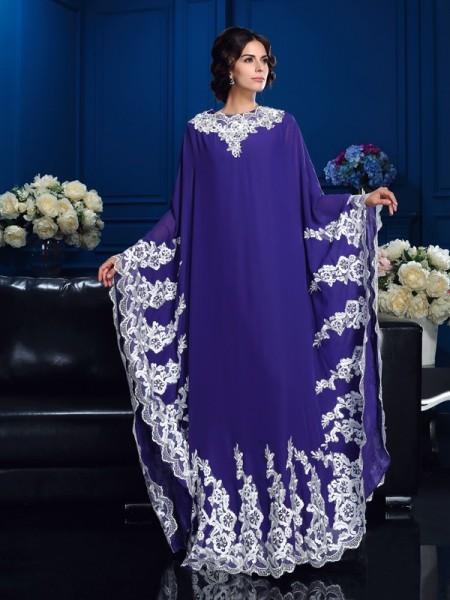 Trapèze/Princesse Col plongeant Appliqués Manches Longueues Longue Mousseline Robes des mères des mariés