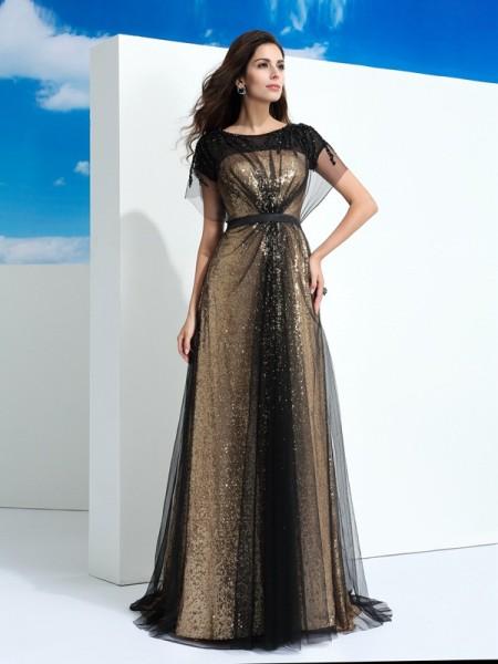Trapèze/Princesse Sheer Neck Paillettes Manches courtes Longue Voile Robes