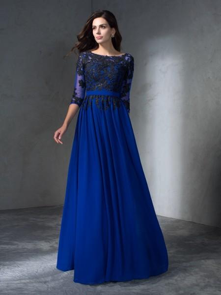 Trapèze/Princesse Col plongeant Appliqués Manches ¾ Longue Mousseline Robes