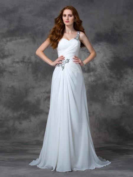 Trapèze/Princesse Col asymétrique Perles Sans Manches Longue Mousseline Robes