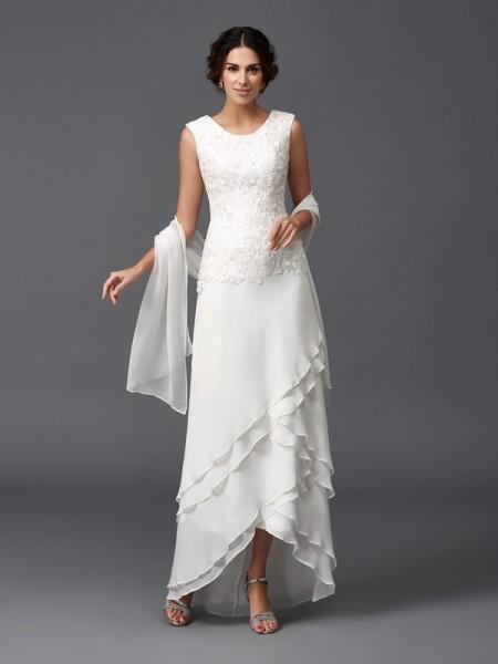 Trapèze/Princesse Col plongeant Dentelle Sans Manches Longue Mousseline Robes des mères des mariés